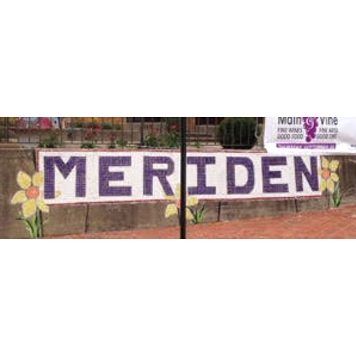 Meriden Welcome Wall by Lincoln Middle School 8th graders, 16 ft long