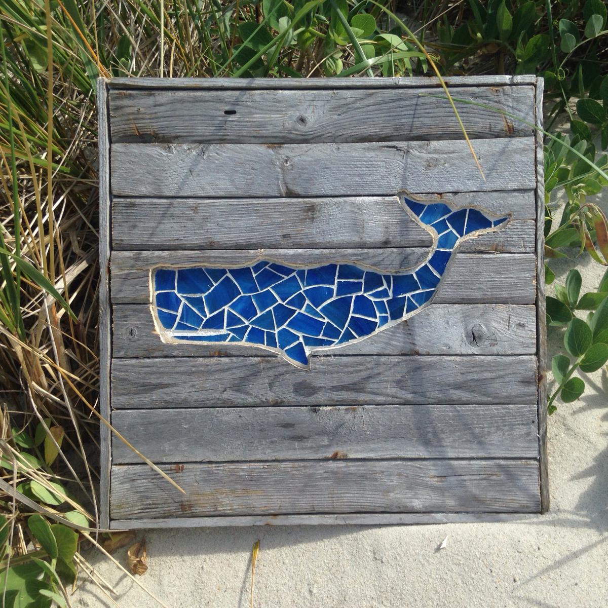 """Michael Ferreira, Light Blue Driftwood Whale, 12""""x12"""""""